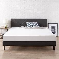 zinus upholstered geometric paneled platform bed with wood