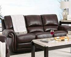 brown genuine leather power reclining sofa loveseat nail