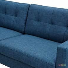 Blue Mid Century Modern Sofa 3d Image by Uma Mid Century Modern Blue Fabric Button Tufted Sofa W