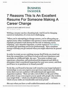 Resume Career Change Ideal Resume For Someone Making A Career Change Business