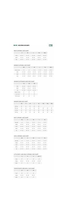 Mens Nike Size Chart Nike 174 Apparel Size Charts Pro Tips By S Sporting Goods