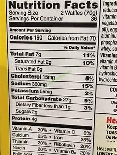 Waffle House Nutrition Chart Kellogg S Homestyle Eggo Waffles 72 Count Box Costcochaser
