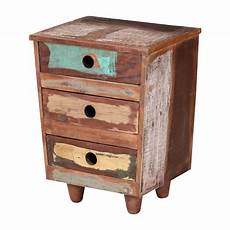 Hoobro End Table Rustic Side Table With 3 Tier Shelf by Sedona Three Drawer Reclaimed Wood Rustic End Table