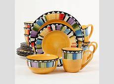 Gibson Home Fandango 16 Piece Dinnerware Set, Yellow