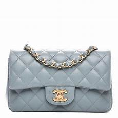 Chanel Mini Light Blue Chanel Iridescent Caviar Quilted Mini Rectangular Flap