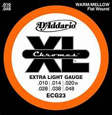 Light Gauge Flatwound Guitar Strings D Addario Electric Guitar Strings Ecg23 Xl Chromes Flat