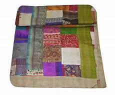 indian silk sari patchwork kantha quilt handmade bedspread