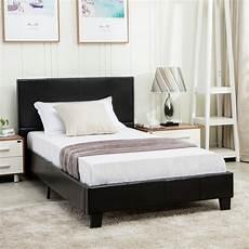 size faux leather platform bed frame slats