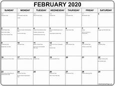 Collection Of February 2020 Calendars With Holidays