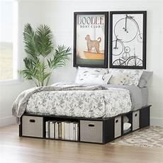 black oak size platform bed with storage and baskets