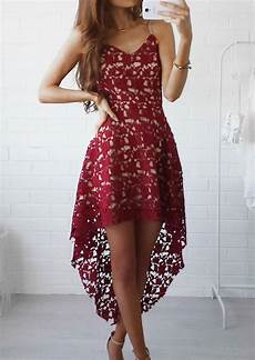 solid lace hollow out asymmetric casual dress fairyseason
