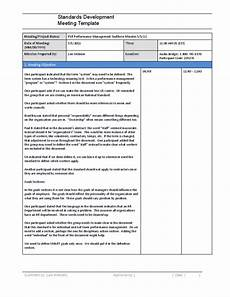 Standard Meeting Minutes Standards Development Meeting Minutes Template Free Download