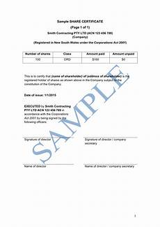 Company Certification Sample Share Certificate Free Template Sample Lawpath