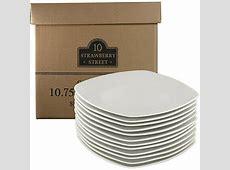 "10 Strawberry Street 10.5"" Square Dinner Plates, White"