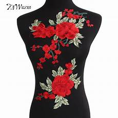 embroidery clothes 2pcs flowers embroidered patches fabric sticker for