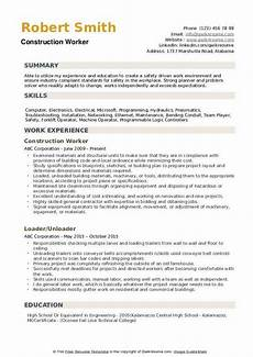 Construction Worker Resume Templates Construction Worker Resume Samples Qwikresume