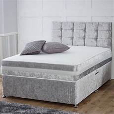 4ft small divan bed grey silver suede effect