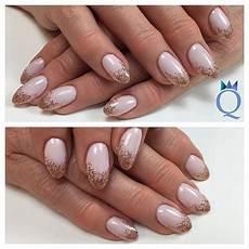 nageldesign natur verlauf almondnails gelnails nails rosegold glitter fade