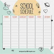 School Schedule With Drawings Vector Premium Download