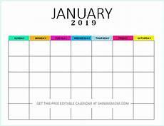 Editable Calander Free Editable Blank Calendar 2019 Colorful Monthly Template