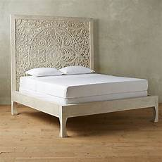dynasty carved indian solid wooden bed frame white