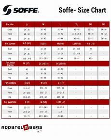 Soffe Size Chart Apparelnbags Com