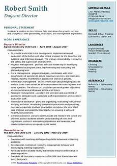 Resume For Child Care Director Daycare Director Resume Samples Qwikresume