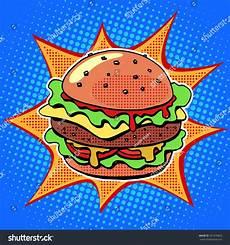 Pop Art Food Fast Food Burger Sesame Meat Salad Stock Vector 351478853