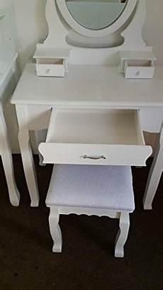 white dressing table set with adjustable oval