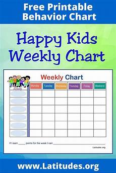 Weekly Behavior Chart Free Weekly Behavior Chart Happy Kids Acn Latitudes