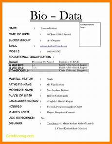 Basic Biodata Format Format Of Biodata For Job Pdf Inspirational Job Biodata