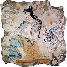 fresco ancient the saffron goddess 1600 b c is a detail from a minoan