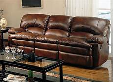 rich brown bonded leather modern reclining sofa w options