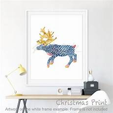 moose watercolour painting set of 2 printable
