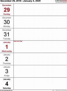 free weekly calendar template 2020 weekly calendars 2020 for excel 12 free printable templates