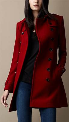 coats for burberry midlength wool blend trench coat in lyst