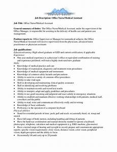 Medical Administration Job Description Job Description Office Nurse Medical Assistant