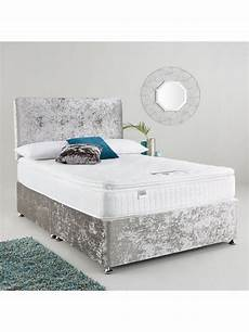 silver velvet divan bed with drawers storage headboard