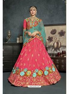 buy peach banarasi silk lehenga style saree lehenga