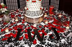 red black white wedding black letters on cake table red