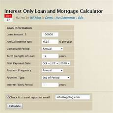 Interest Only Calculator Interest Only Loan Mortgage Calculator By Wp Shuttle