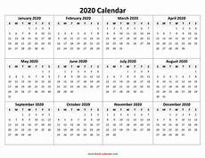 Free 2020 Calendars 2020 Printable Calendar Download Free Blank Templates