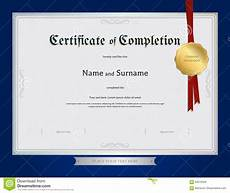 Certification Of Completion Template Certificate Of Completion Template With Blue Border Stock