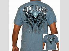 Mens Biker T Shirts: Blue Ride Hard Skull   Leather Bound