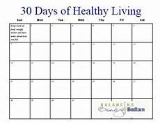 30 Day Calendar Printable Fitness Calendar 30 Days Of Healthy Living
