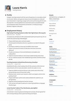 Resume For Teacher Assistant Teaching Assistant Resume Amp Writing Guide 12 Templates