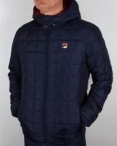 coats and jackets fila vintage passo quilted jacket navy coat padded hooded mens