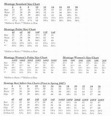 Montage Size Chart Size Charts Montage