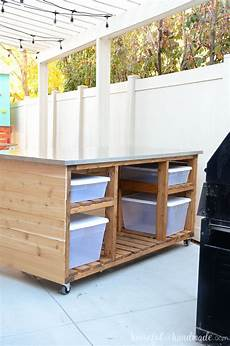 These 10 Portable Islands Work In Your Kitchen Outdoor Kitchen Island Build Plans A Houseful Of Handmade