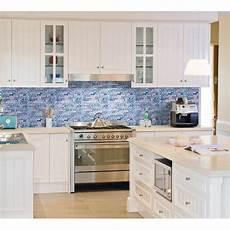 grey marble blue glass mosaic tiles backsplash - Blue Tile Kitchen Backsplash